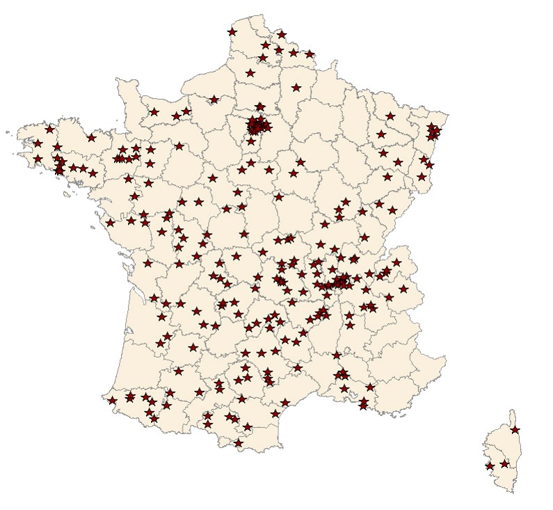Localisation des clients ADIV en France - 2012-2014